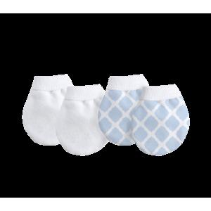 KUSHIES 純棉初生嬰兒防抓手套 2對裝 藍色格子