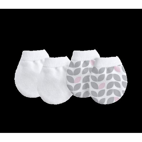 KUSHIES 純棉初生嬰兒防抓手套 2對裝 灰色花瓣