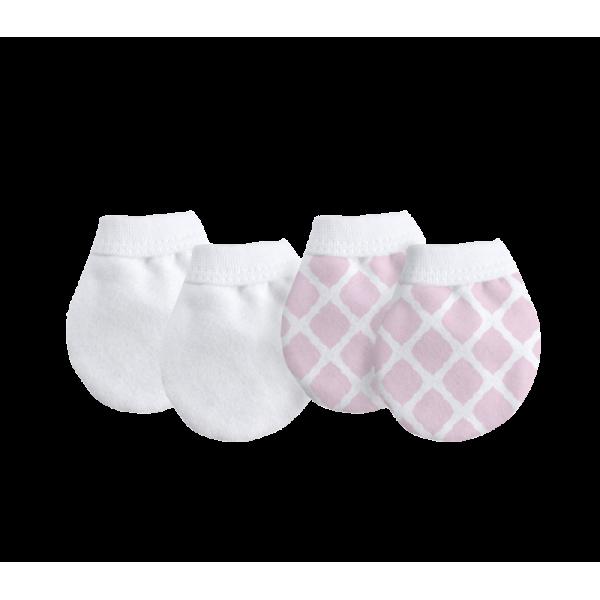 KUSHIES 純棉初生嬰兒防抓手套 2對裝 粉紅格子